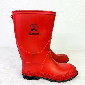 Kamik Boys Solid Rubber Waterproof Rain Boots Sz 1